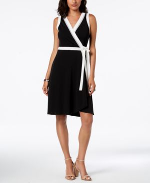 CONTRAST-BORDER WRAP DRESS, CREATED FOR MACY'S
