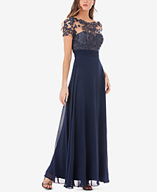 JS Collections Floral-Embroidered A-Line Gown