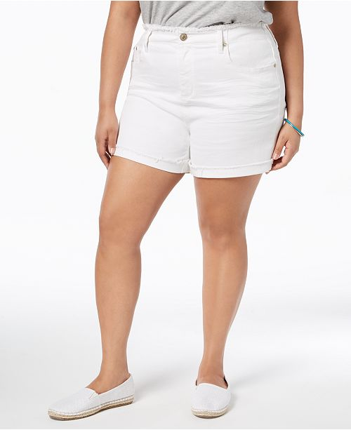 2e14a4af19 ... Seven7 Jeans Seven7 Trendy Plus Size Frayed White Denim Shorts ...