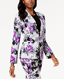 Nine West Floral-Print Kiss-Front Jacket