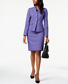 Le Suit Three-Button Skirt Suit, Regular & Petite