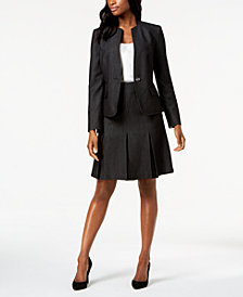 Kasper Dot-Print One-Button Jacket & Pleated-Hem Skirt