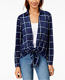 Almost Famous Juniors' Plaid Layered-Look Top