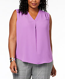 Nine West Plus Size Pleated V-Neck Shell