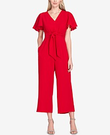 Flutter-Sleeve Cropped-Leg Jumpsuit