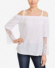NY Collection Lace-Sleeve Off-The-Shoulder Top
