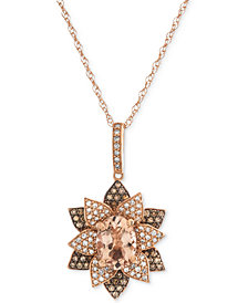 "Morganite (1 ct. t.w.) & Diamond (1/2 ct. t.w.) Blooming Flower 18"" Pendant Necklace in 14k Rose Gold"