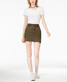 Joe's Jeans Raw-Hem Denim Cargo Skirt