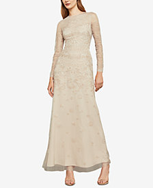 BCBGMAXAZRIA Metallic Embroidered Gown