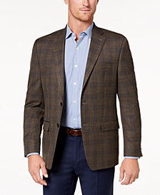 Lauren Ralph Lauren Men's Classic-Fit Ultra-Flex Stretch Light Brown Plaid Sport Coat