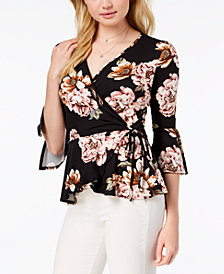 BCX Juniors' Floral-Print Wrap Top