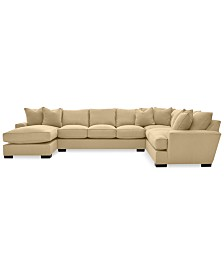 CLOSEOUT! Ainsley 3-Pc. Fabric Chaise Sectional with 6 Throw Pillows, Created for Macy's