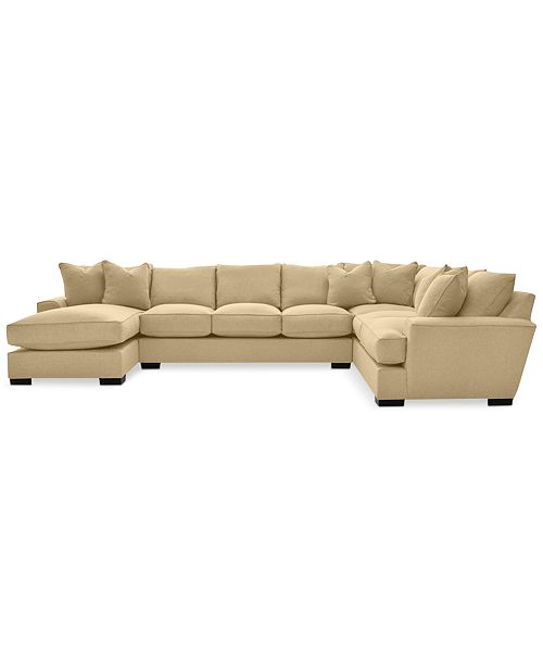 Furniture CLOSEOUT! Ainsley 3-Pc. Fabric Chaise Sectional with 6 Throw Pillows, Created for Macy's