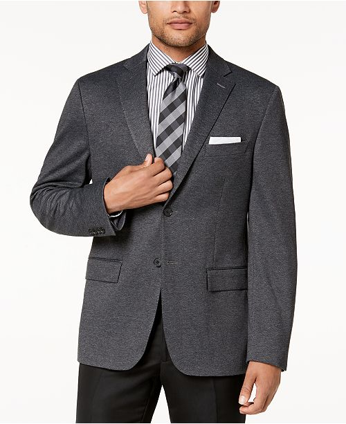 Ryan Seacrest Distinction Men's Modern-Fit Stretch Charcoal Knit Sport Coat, Created for Macy's