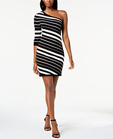 Anne Klein One-Shoulder Striped Sweater Dress