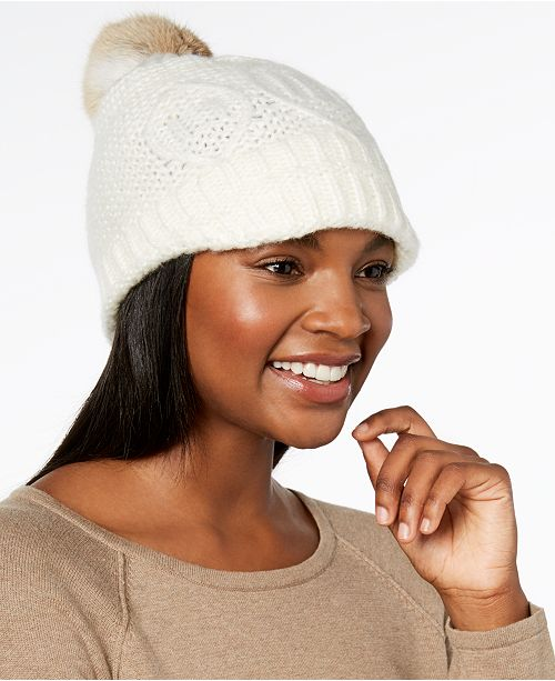 dd85bf862a0 Surell Rabbit-Fur Pom Pom Knit Hat - Handbags   Accessories - Macy s
