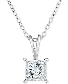 "Diamond Princess Solitaire 18"" Pendant Necklace (1/2 ct. t.w.) in 14k White Gold"