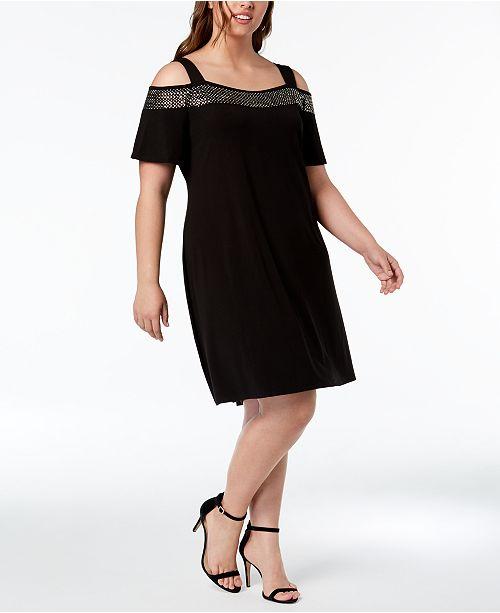 Belldini Plus Size Sequin-Trimmed Off-The-Shoulder Dress