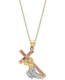 "Tricolor Jesus & Cross 18"" Pendant Necklace in 14k Gold, Rose Gold & Rhodium-Plate"