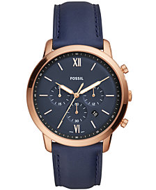 Fossil Men's Chronograph Neutra Navy Leather Strap Watch 44mm