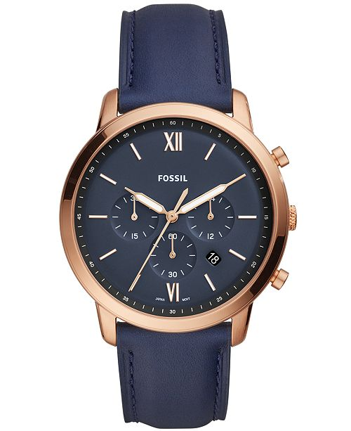 a3fd5c3d3 Fossil Men's Neutra Chronograph Navy Leather Strap Watch 44mm ...