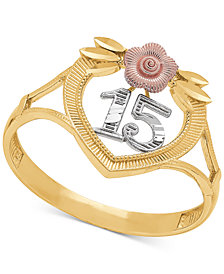"Tricolor Quinceañera ""15"" Rose Openwork Ring in 14k Gold, Rose Gold & Rhodium Plate"