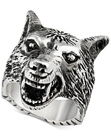 Three-Dimensional Wolf Ring in Sterling Silver