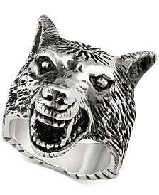 Gucci Three-Dimensional Wolf Ring in Sterling Silver YBC476900001020
