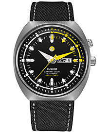 Rado Men's Swiss Automatic Tradtition Captain Cook MKIII Black Fabric Strap Watch 46.8mm, Created for Macy's
