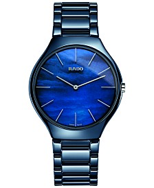 Rado Women's Swiss True Thinline Blue High-tech Ceramic Bracelet Watch 39mm