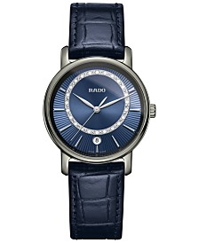 Rado Unisex Swiss DiaMaster Diamond-Accent Blue Leather Strap Watch 33mm