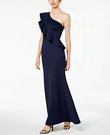 Jessica Howard Ruffled One-Shoulder Gown