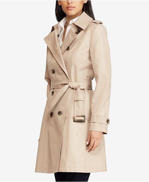Lauren Ralph Lauren Petite Double Breasted Trench Coat, Created for Macy's