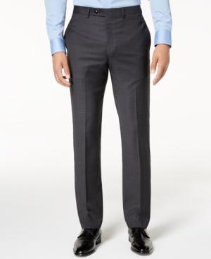 Calvin Klein Men's Slim-Fit Gray/Blue Plaid Suit Pants