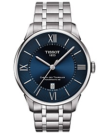 Tissot Men's Swiss Automatic T-Classic Chemin des Tourelles Powermatic 80 Gray Stainless Steel Bracelet Watch 42mm