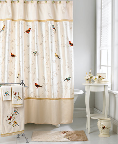 Avanti bath accessories gilded birds shower curtain for Hotel decor items