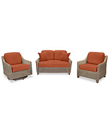 Willough Wicker Outdoor 3-Pc. Set (1 Loveseat, 1 Club Chair & 1 Swivel Glider) with Custom Sunbrella® Colors, Created For Macy's