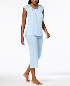 Miss Elaine Knit Mesh-Trim Pajama Set