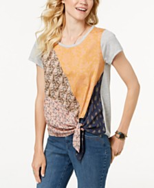 Style & Co Patchwork-Print Side-Tie Top, Created for Macy's