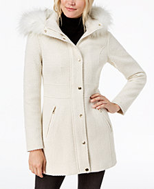 I.N.C. Faux-Fur-Trim Woven Coat, Created for Macy's