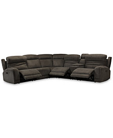 Winterton 6-Pc. Fabric Sectional Sofa With 3 Power Recliners, Power Headrests, Lumbar, Console And USB Power Outlet