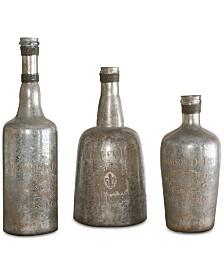 Uttermost Lamaison Mercury Glass Bottles, Set of 3