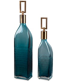 Annabella Teal Glass Bottles, Set of 2