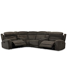 Winterton 6-Pc. Fabric Sectional Sofa With 2 Power Recliners, Power Headrests, Lumbar, 2 Consoles And USB Power Outlet