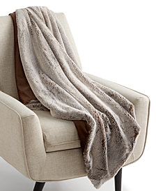 "Martha Stewart Collection Frosted Faux-Fur Reversible 50"" x 60"" Throw, Created for Macy's"