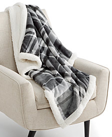 "Martha Stewart Collection Plaid Reversible 50"" x 60"" Fleece Throw, Created for Macy's"