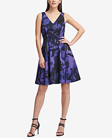 DKNY Electric Flower Printed Fit & Flare Dress, Created for Macy's