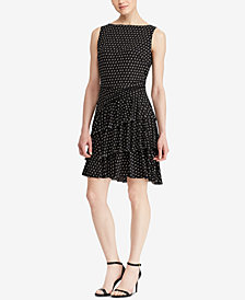 Lauren Ralph Lauren Polka-Dot A-line Ruffled Dress
