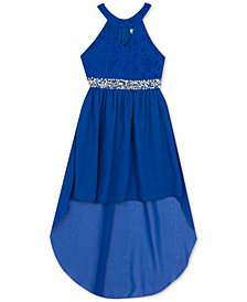 Rare Editions Big Girls Embellished Lace Keyhole Dress