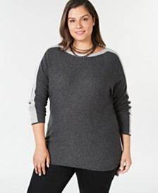 5f412bbbc32 Charter Club Plus Size Pure Cashmere Contrast-Stripe Sweater